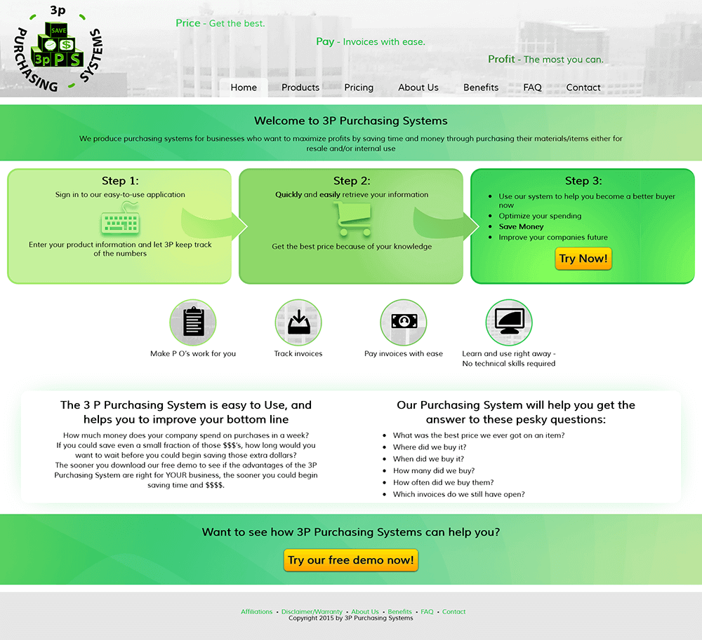 screenshot of 3P Purchasing Systems website