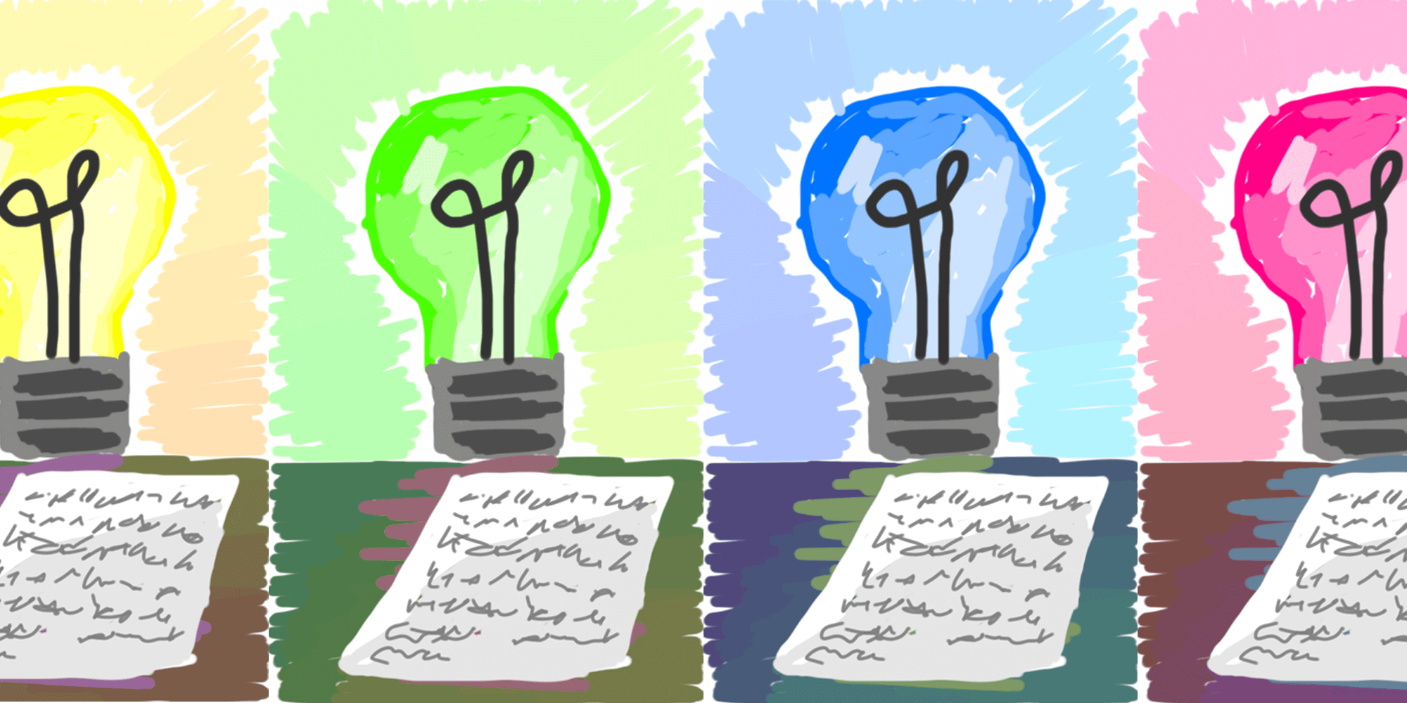 drawing of lightbulbs in different colors