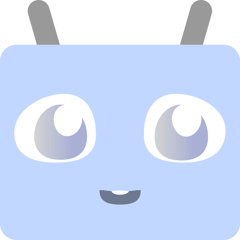 smiling blue robot face